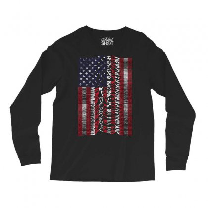 Unknown Pleasures Usa Flag Long Sleeve Shirts Designed By Mirazjason