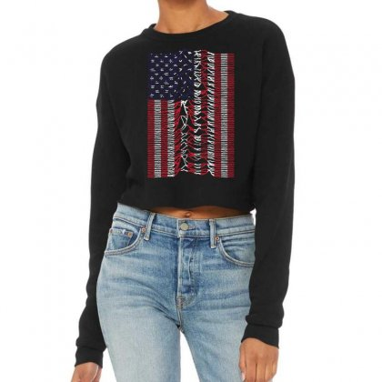 Unknown Pleasures Usa Flag Cropped Sweater Designed By Mirazjason