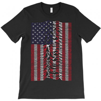 Unknown Pleasures Usa Flag T-shirt Designed By Mirazjason