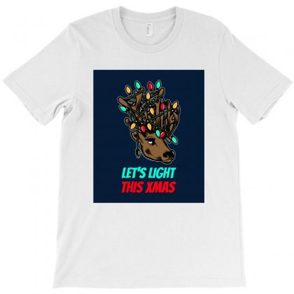 Reindeer With Christmas Lights In Its Antlers T-shirt Designed By Eyeka Lifestyle