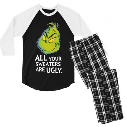 All Your Sweaters Are Ugly   For Dark Men's 3/4 Sleeve Pajama Set Designed By Mirazjason