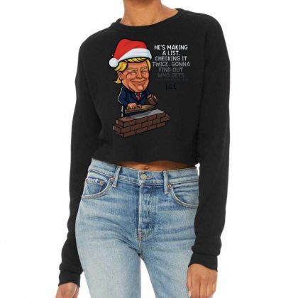 Trump Santa Claus Funny Christmas Cropped Sweater Designed By Mirazjason