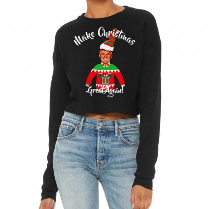 Funny Trump Christmas Ugly Christmas Cropped Sweater Designed By Mirazjason