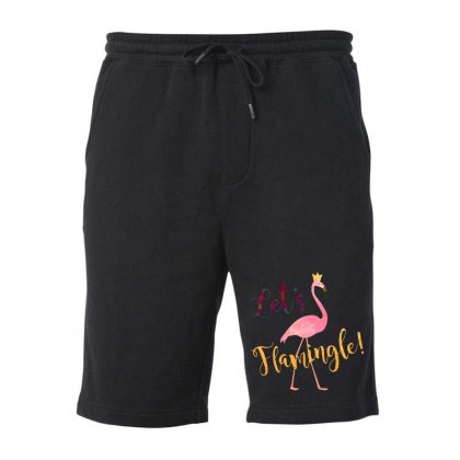 Let's Flamingle! Funny Cute Flamingo Fleece Short Designed By Mirazjason
