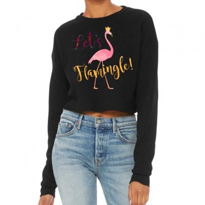 Let's Flamingle! Funny Cute Flamingo Cropped Sweater Designed By Mirazjason