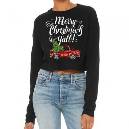 Merry Christmas Y'all For Dark Cropped Sweater Designed By Mirazjason
