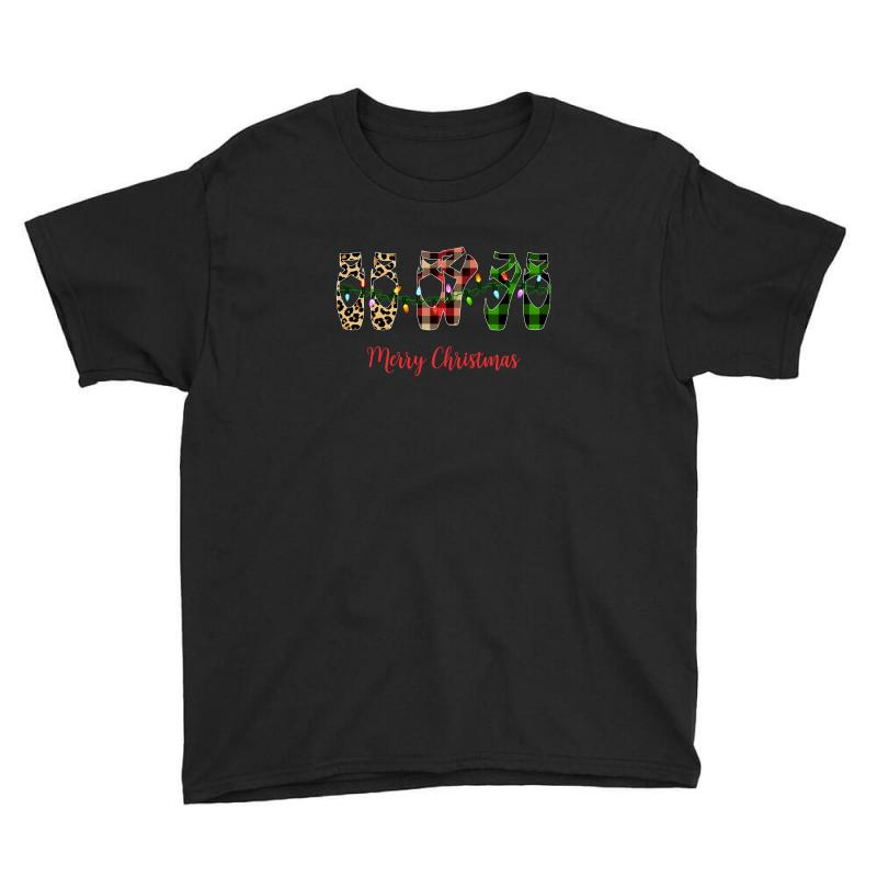 Merry Christmas Ballerina Shoes Plaid Pattern For Dark Youth Tee   Artistshot