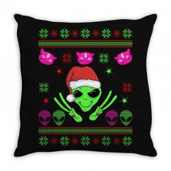alien ugly christmas Throw Pillow | Artistshot
