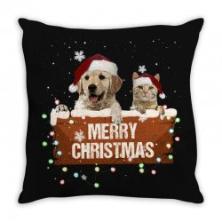 cat and dog merry christmas Throw Pillow | Artistshot
