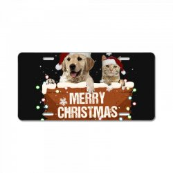 cat and dog merry christmas License Plate | Artistshot