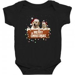 cat and dog merry christmas Baby Bodysuit | Artistshot