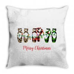 merry christmas ballerina shoes plaid pattern for light Throw Pillow | Artistshot