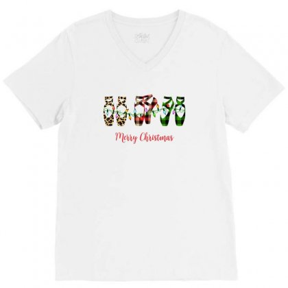 Merry Christmas Ballerina Shoes Plaid Pattern For Light V-neck Tee Designed By Zeynepu
