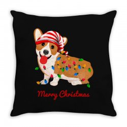 merry christmas santa claus dog Throw Pillow | Artistshot
