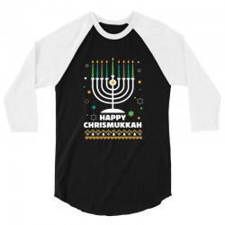 happy chrismukkah hanukkah and christmas 3/4 Sleeve Shirt | Artistshot