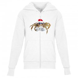 crabby christmas,hapy holidays Youth Zipper Hoodie   Artistshot