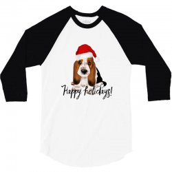 cute santa basset hound dog christmas puppy gift idea 3/4 Sleeve Shirt | Artistshot