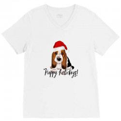 cute santa basset hound dog christmas puppy gift idea V-Neck Tee | Artistshot