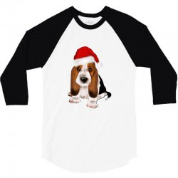 cute santa besset hound dog 3/4 Sleeve Shirt | Artistshot