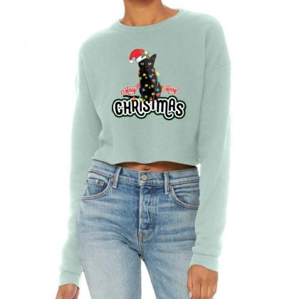Christmas Cat Cropped Sweater Designed By Mirazjason