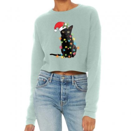 Funny Christmas Cat Cropped Sweater Designed By Mirazjason