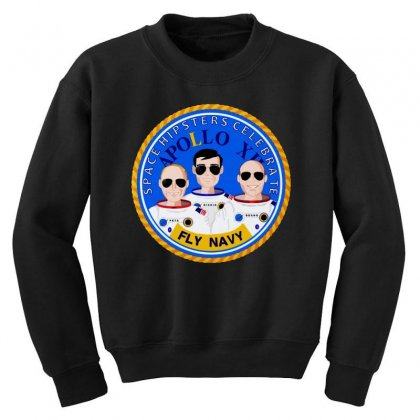 Space Hipsters Apollo 12 Anniversary Youth Sweatshirt Designed By Mirazjason