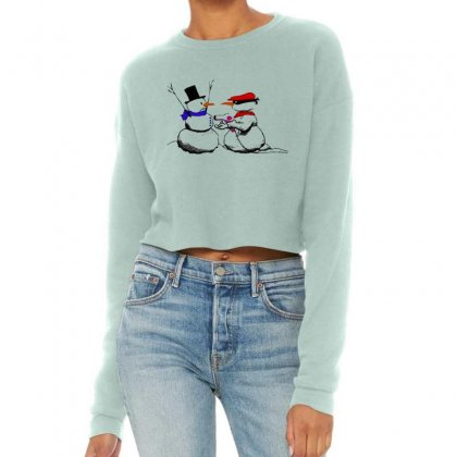 Snowman Gun Point Funny Christmas Cropped Sweater Designed By Mirazjason