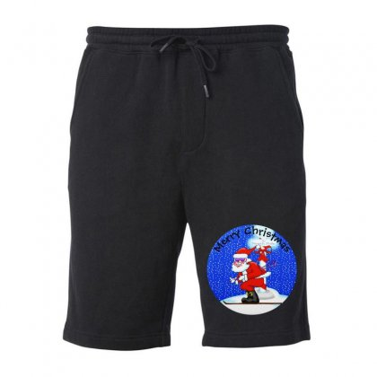 Skiing Santa At The North Pole Fleece Short Designed By Mirazjason