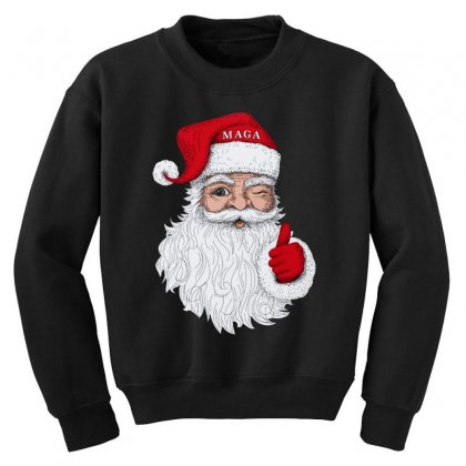 Santa With Maga On His Hat For Christmas Youth Sweatshirt Designed By Mirazjason