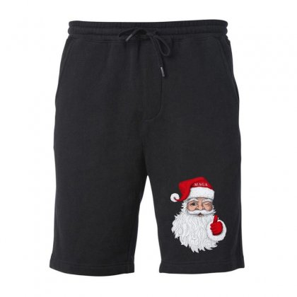 Santa With Maga On His Hat For Christmas Fleece Short Designed By Mirazjason