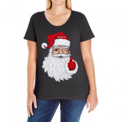 Santa With Maga On His Hat For Christmas Ladies Curvy T-shirt Designed By Mirazjason