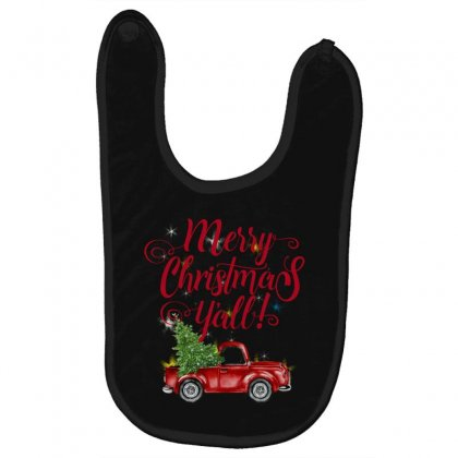 Merry Christmas Y'all Baby Bibs Designed By Mirazjason