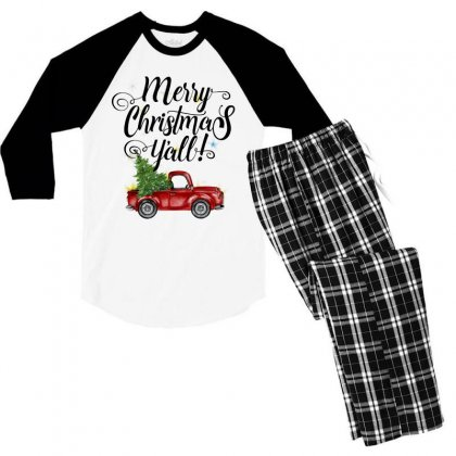 Merry Christmas Y'all For Light Men's 3/4 Sleeve Pajama Set Designed By Mirazjason