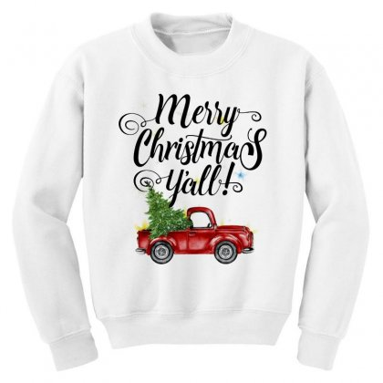 Merry Christmas Y'all For Light Youth Sweatshirt Designed By Mirazjason