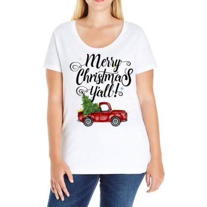Merry Christmas Y'all For Light Ladies Curvy T-shirt Designed By Mirazjason
