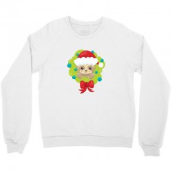 christmas sloth in a christmas wreath Crewneck Sweatshirt | Artistshot