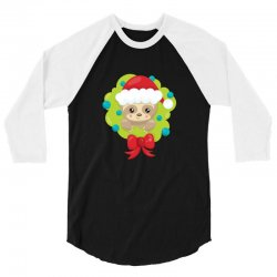 christmas sloth in a christmas wreath 3/4 Sleeve Shirt | Artistshot