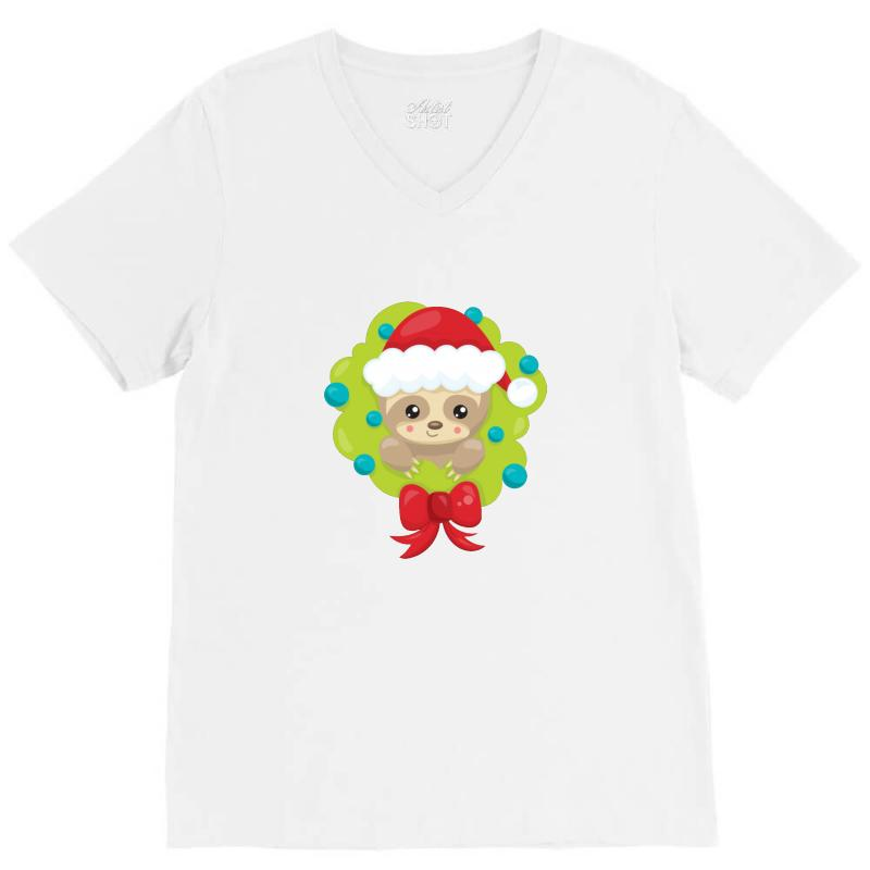 Christmas Sloth In A Christmas Wreath V-neck Tee | Artistshot