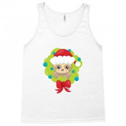 christmas sloth in a christmas wreath Tank Top | Artistshot