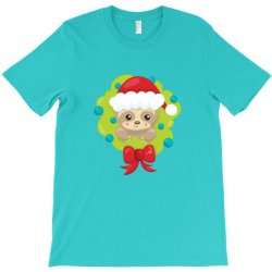christmas sloth in a christmas wreath T-Shirt | Artistshot