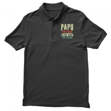 Mens Papu The Man Myth Legend Grandpa Gift Men Father's Day Gift Men's Polo Shirt