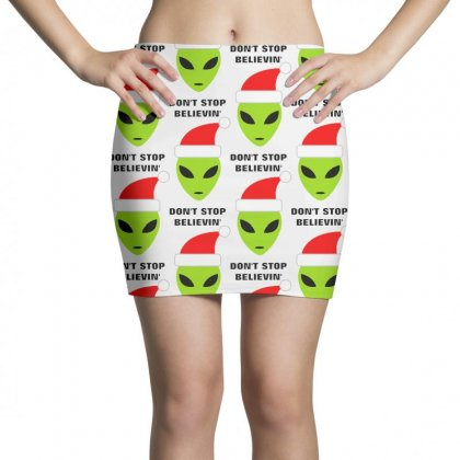 Funny Don't Stop Believing  Santa Claus Mini Skirts Designed By Rodgergise