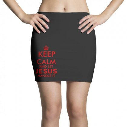 Keep Calm And Let Jesus Handle It   Red Mini Skirts Designed By Rodgergise
