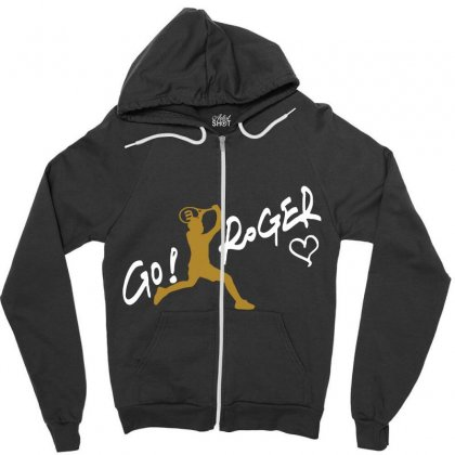 Go Roger White Zipper Hoodie Designed By Bluebubble