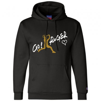 Go Roger White Champion Hoodie Designed By Bluebubble