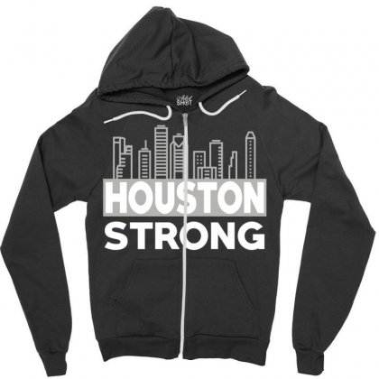 Houston Strong City Zipper Hoodie Designed By Bluebubble