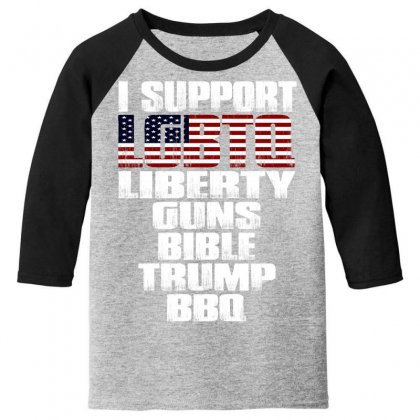 I Support Lgbtq Liberty Guns Bible Trump Bbq Youth 3/4 Sleeve Designed By Bluebubble