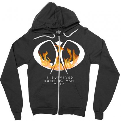 I Survived Burning Man Zipper Hoodie Designed By Bluebubble