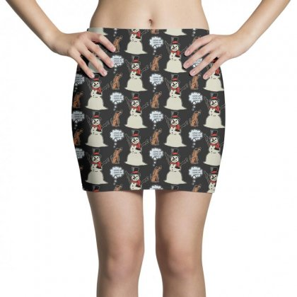 Funny Dog With Snowman Christmas Mini Skirts Designed By Rodgergise