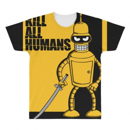 Kill All Humans All Over Men's T-shirt Designed By Bluebubble